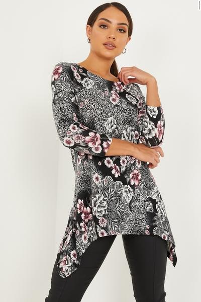 Black & Pink Abstract Hanky Hem Top